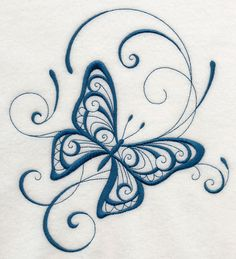 Inky Butterfly Delight machine embroidery design. A graceful one-color butterfly is beautiful on towels, shirts, quilts, linens, and more.