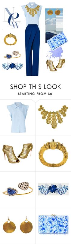 """""""As blue as the sky"""" by lameessalem ❤ liked on Polyvore featuring Rachel Comey, Trifari, Christian Louboutin, Vika Gazinskaya and Charlotte Olympia"""