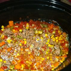 Crock pot vegetable beef soup 1-2lbs of Hb meat, 2 cans of veg all, 1 can diced tomatoes, 1 ca corn, 1 cup of egg noodles Brown meat with salt pepper and seasonall, then dump all ingrediants in crock pot except for noodles, simmer all day long, and 30 mina before serving add the noodles