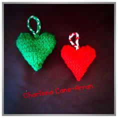 Knitted Heart Christmas Tree Decorations by CharismaLane on Etsy