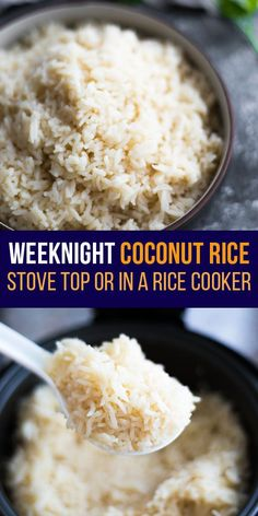 This fragrant and fluffy coconut rice recipe has deliciously subtle coconut flavor. Simple to prepare on the stove top or in a rice cooker! #sweetpeasandsaffron #mealprep #rice #ricecooker #coconut #dinner #sidedish #glutenfree #cleaneating