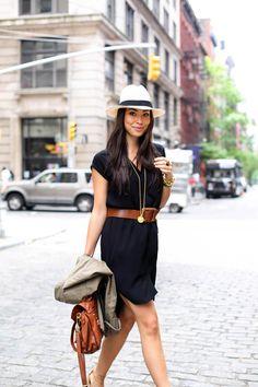 Simple black shirtdress