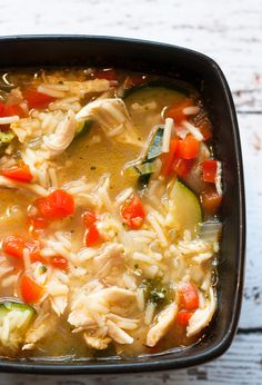 This warm and delicious chicken and rice soup is easy to whip up in just minutes. It makes a satisfying family dinner for those busy weeknights!