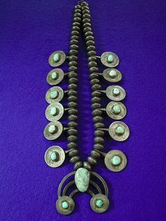 Vintage Old Pawn Navajo Squash Blossom Silver Coins 900 Necklace with Turquoise | eBay