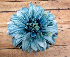 Large Steel Blue Dahlia Hair Flower Clip Retro Dahlia by LilaJo (Accessories, Hair Accessories, Barrettes & Clips, silk flower, weddings, rockabilly, bridal bride, burlesque, hair accessorie clip, dahlia, pinup, photoshoot, steel blue, blue, boho, pin up)