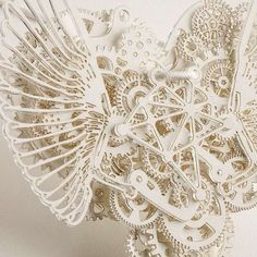 "a-faerietale-of-inspiration: automata: ""Clockwork Love"" amazing intricate & adorable Paper clockwork heart pendants by Frank Tjepkema Kirigami, Paper Cutting, Cut Paper, Paper Lace, Paper Engineering, Diy Papier, Paper Jewelry, Paper Hearts, Sculpture Art"