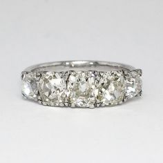 fc8e2853ed5d Glittering 3.49ct t.w. 1920 s Anniversary Five Stone Old Cut Diamond Band  Ring Platinum