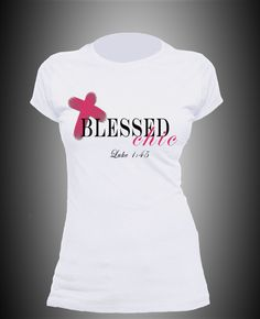 Please Note: This Shirt Is A Ladies Fitted Tee Sizes Run Smaller Than Regular T-Shirts. If Not Sure of Size Order a Size Up. Self Fabric:• 100% Fine Jersey cotton construction (Heather Grey contains 10% Polyester) • Durable rib neckband • Form-fitting Shirt Scripture: And blessed is she th...