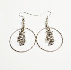 Owl Hoop Earrings /  Owl Jewelry / Hoops by VickysLittleSecrets
