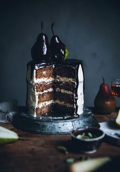 Pear cardamom cake with brown butter frosting & chocolate glaze - Call Me Cupcake