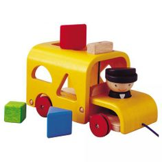 Plan Toys Sorting Bus- I love that its both a pull toy and a sorting toy.  The block are the perfect size for little hands yet still large enough that they don't fit in an 8 month old's mouth.  I like that they are wood with non-toxic paint so its safe for her to chew on... her current favorite way to play with the bus.  She also loves to chase the bus while someone is pulling it.