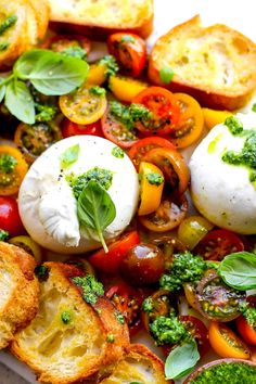 burrata with tomatoes, pesto, and grilled bread appetizer Caprese Appetizer, Tomato Appetizers, Bread Appetizers, Caprese Salad, Basil Pesto Recipes, Tomato Pesto, Toast In The Oven, Grilled Bread, Insalata Caprese