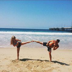 Side kicks & Oceans  #beachworkouts