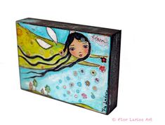Spring Fairy - ACEO Giclee print mounted on Wood (2.5 x 3.5 inches) Folk Art  by FLOR LARIOS on Etsy, $10.00