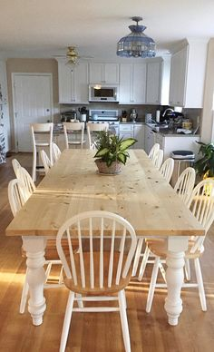 Large Farmhouse Table, Custom Farm Table with Turned Legs, Wooden Farm Table, Long Kitchen Table, Rustic Dining Table - All Sizes and Stains informal dining room decorating ideas - Dining Room Decor Long Dining Room Tables, Rustic Kitchen Tables, Farm Tables, Wood Tables, Wooden Kitchen, Country Kitchen, Side Tables, Coffee Tables, Dining Chairs