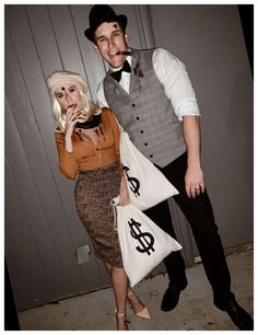 Bonnie And Clyde Halloween Costume, Scary Couples Halloween Costumes, Best Couples Costumes, Pop Culture Halloween Costume, Halloween Outfits, Adult Costumes, Couple Costumes, Halloween Ideas, Halloween Makeup
