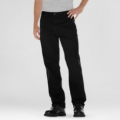 Dickies Men's Big & Tall Relaxed Straight Fit Canvas Duck Carpenter Jean- Black 44x30