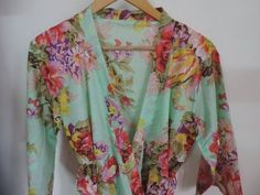 Code Mint Floral Kimono Crossover patterned Robe Wrap - Bridesmaids gift, getting ready robes, Bridal shower favors, baby shower Cotton Bridesmaid Robes, Mint Bridesmaid Dresses, Bridal Dresses, Bridesmaids, Bridesmaid Color, Bridal Shower Rustic, Bridal Shower Favors, Bridal Robes Getting Ready, Flower Girl Robes