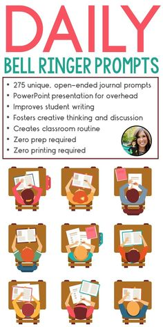 Journal prompts for the entire school year   Classroom routine   classroom management miracle   Middle and high school ELA   Bell ringers