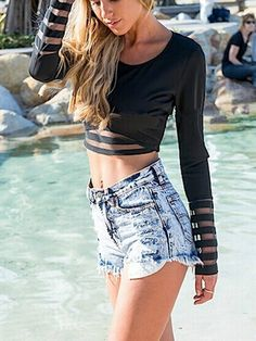 If only I was this tiny ... Black Mesh Panel Crop Long Sleeves T-shirt | Persunmall