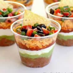 Individual Seven-Layer Dips, good during cold season to avoid sharing germs with double dippers :)