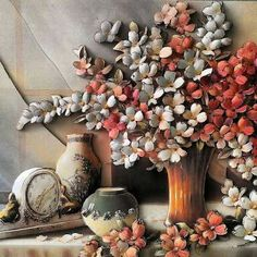 Kağıt Rölyef 3d Paper Art, 3d Paper Crafts, Decoupage Paper, Paper Quilling, Biscuit, Country Paintings, Clay Flowers, Cold Porcelain, Flower Crafts
