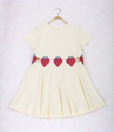 Japan fashion ! Cotton fabric, very soft feeling ^ ^ Strawberry embroidery   Length 74 cm, Bust 78--92 cm, Waist 76--80 cm, Shoulder 37 cm, Hem 210 cm
