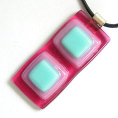 Pink-turquoise duo squares fused glass pendant
