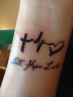 Interest tattoo ideas and design - Hope Faith Tattoo On Wrist Photo - 11. If you want to make a tattoo, look how it looks from other people!