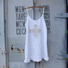 Linen Summer Dress with Swiss Cross Made to Order