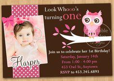 Pink and Brown Owl Birthday Invitation  Custom by printablecandee, $10.00