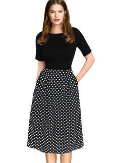 Cotton Polyester Polka Dot Short Sleeve Mid-Calf Casual Dresses (1022399) @ floryday.com