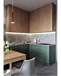 There is something in the combination of materials and colors that call my eyes. Kitchen interior design using wood and greens. There is something in the combination of materials and colors that call my eyes. Kitchen interior design using wood and greens. Kitchen Design Color, Home Decor Kitchen, Kitchen Remodel, Kitchen Decor, Modern Kitchen, Wood Kitchen, Modern Wooden Kitchen, Kitchen Decor Apartment, Kitchen Design