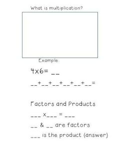 What is multiplication math notebook by ashlea.farrugia