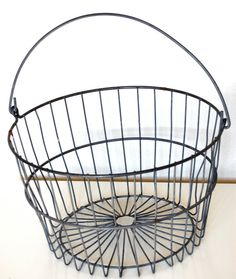 Rolled up towels or snuggle blankets! Vintage Metal Egg Basket Large Farm house style by SprinklesInTime, $30.00
