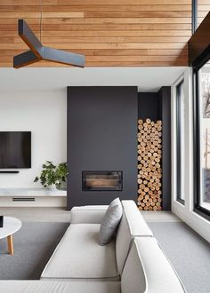 These 15 beautiful modern fireplace designs are so beautiful and yet easy to . - Do it yourself dream house luxury home house rooms bedroom furniture home bathroom home modern homes interior penthouse Modern House Design, Modern Interior Design, Interior Ideas, Modern Interiors, Interior Design Inspiration, Home Interiors, Interior Styling, Modern Wood House, Mid Century Interior Design