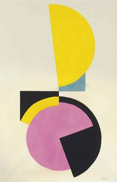 Etienne (István) Beöthy, Dèsèquilibre, gouache on paper, 47.5 x 30cm, 1938   yellow pink geometric abstract art
