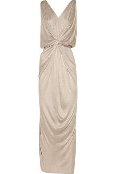 T-bags Knot-front Slub-jersey Maxi Dress in Beige (oatmeal) - make?
