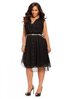 Ashley Stewart: Web Exclusive: Braided Belt Hi Lo Dress