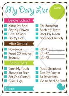 "Child Daily To Do List ""To Do List"" for the kids ~ Before School, After School, Before"