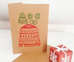 Christmas Knits Pack of Three Christmas Cards Gocco by Rose Hudson
