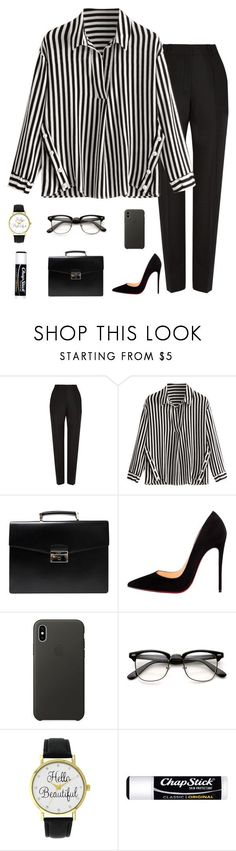 """""""business"""" by abbyreichart ❤ liked on Polyvore featuring Balenciaga, Prada, Christian Louboutin, Apple, A Classic Time Watch Co., Chapstick, cute, casual, simple and Heels"""