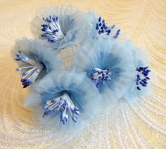 Blue Millinery Flowers Organdy Poppies Yo Yo for Hats by APinkSwan