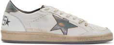 Golden Goose White & Silver Distressed Ball Star Sneakers