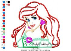 Mermaid Ariel Princess Machine Embroidery Applique Design Digital Download
