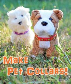 American Girl Doll Craft: Make Pet Collars! Does your doll's pet need a new stylish collar to wear? Here's a super cute and easy way to make one! Your doll's pet will be the most fashionable dog or cat on the block American Girl Doll Pets, American Girl Crafts, American Girl Clothes, American Girls, Ag Doll Crafts, Diy Doll, Ag Dolls, Girl Dolls, Girls Dollhouse