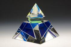 Pavel Novak Blue Pyramid   cast, coldworked, polished, laminated glass  12.5 x 11.5 x 11.5