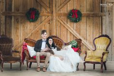 Christmas Winter barn wedding.  bride & groom on our lounge area.  We love all the lovely winter touches they used for their special day.  From vintage lounge areas with plaid to antlers and greenery to lawn games.  Photos by Trisha Kay Photography by rentmydust.com