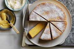 Semolina, almond and orange cake with lemon curd