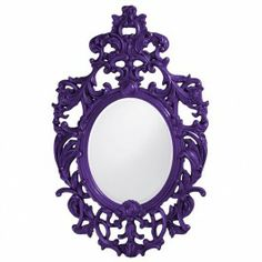 Dorsiere Large Baroque Glossy Royal Purple Lacquer Wall Mirror